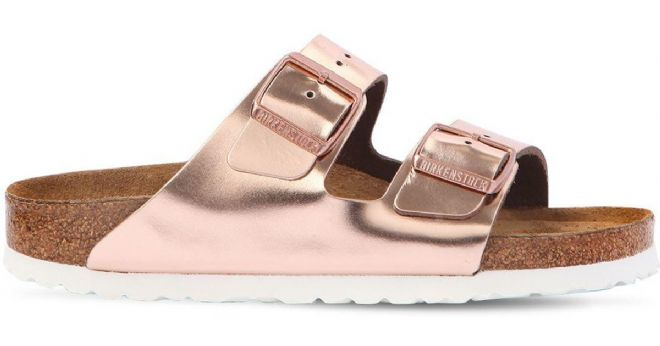 Birkenstock 'ARIZONA' Rose Gold Metallic Leather